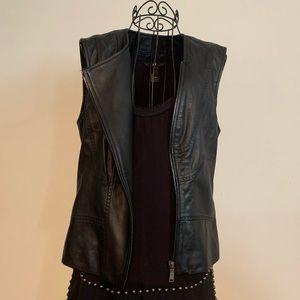 Chic sleeveless leather jacket/vest by Elie Tahari
